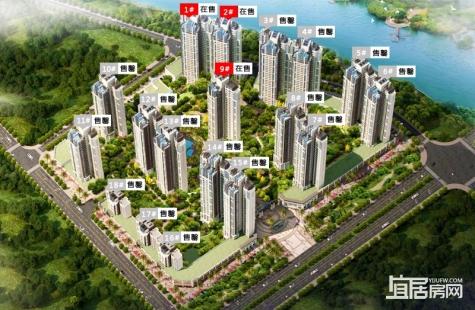 惠州源通壹方水榭1/2/9栋在售户型建面98/115/120平