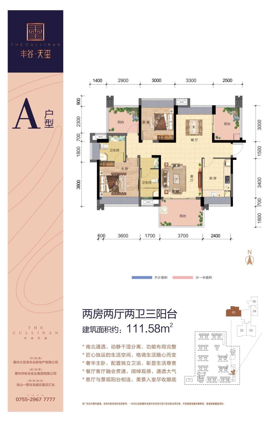 丰谷天玺13栋A户型112平米
