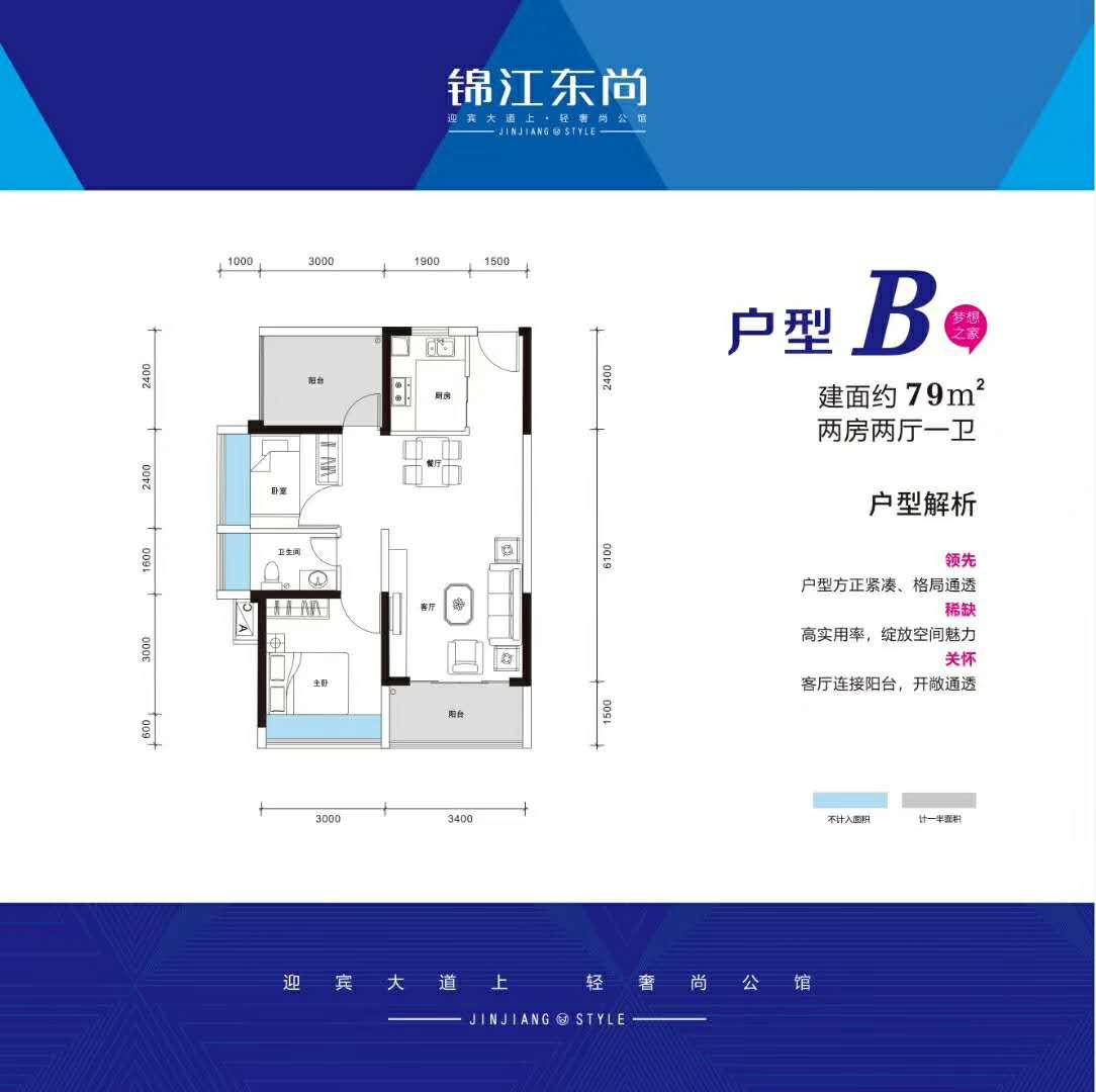 锦江东尚户型图79平米