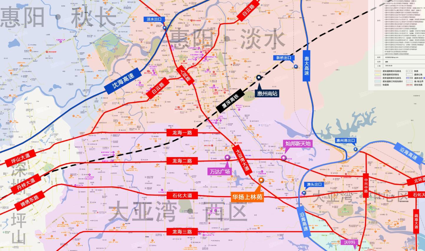 惠州大亚湾上林苑交通图