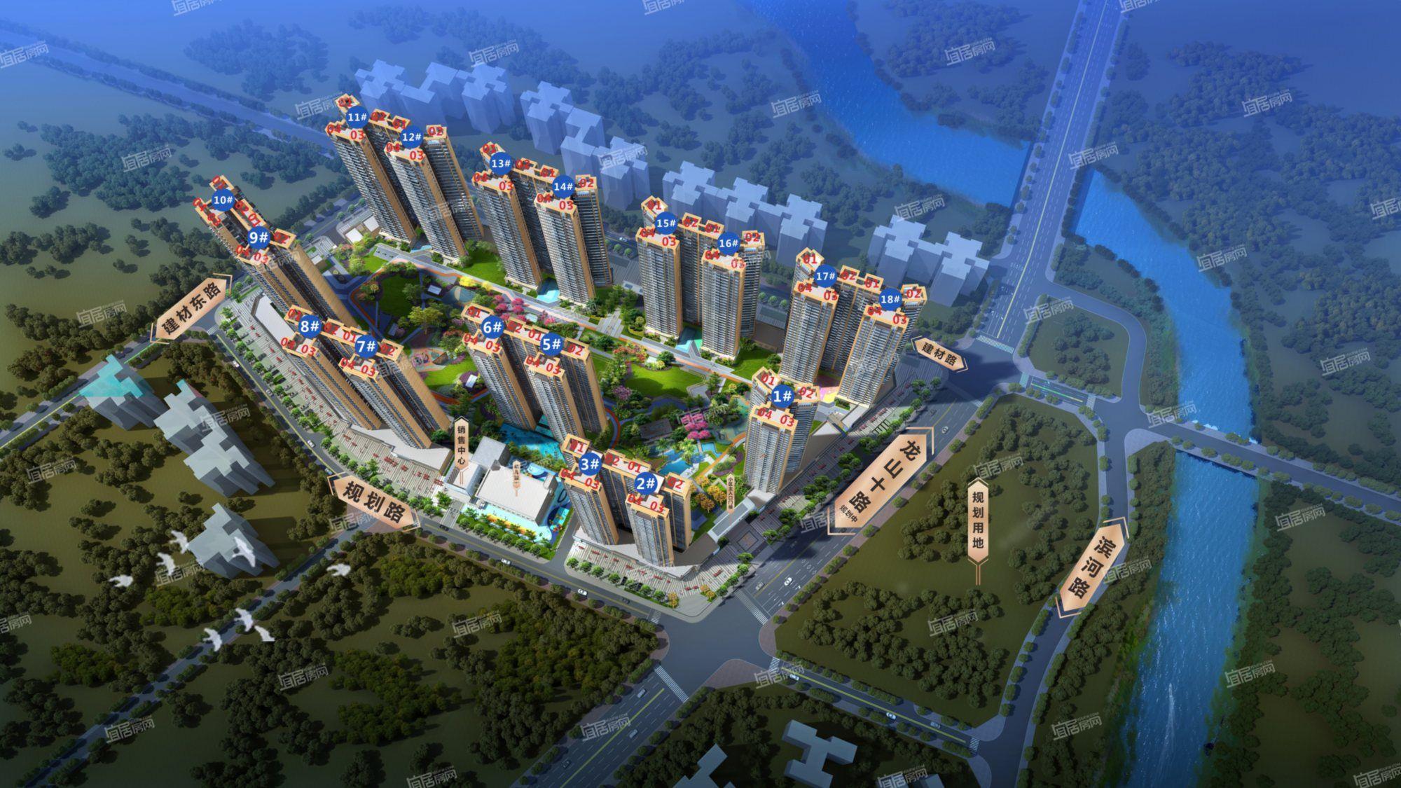 碧桂园城央印象整体鸟瞰图